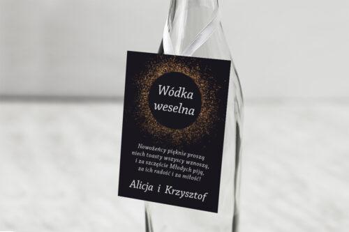 Zawieszka na alkohol do zaproszenia Kontrastowe z nawami - Złoty Brokat