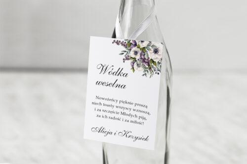 Zawieszka na alkohol - Kwiatowe Gałązki - Biało-Fioletowe Anemony