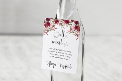 Zawieszka na alkohol Akwarelowe Bukiety – Burgundowe róże na jasnym tle