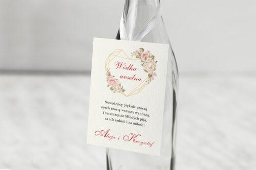 Zawieszka ślubna na alkohol - Angielskie Róże – Pudrowe