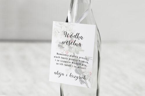 Zawieszka na alkohol do zaproszenia Botaniczne Jednokartkowe - Kwiat Jabłoni