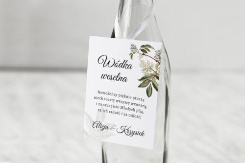 Zawieszka na alkohol do zaproszenia Botaniczne Jednokartkowe - Czarny bez