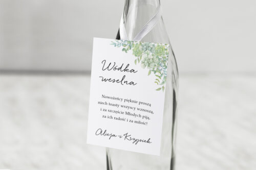 Zawieszka na alkohol do zaproszenia Eleganckie kwiaty - Sukulenty
