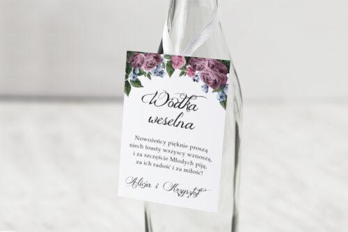 Zawieszka na alkohol do zaproszenia Botaniczne – Fioletowe róże
