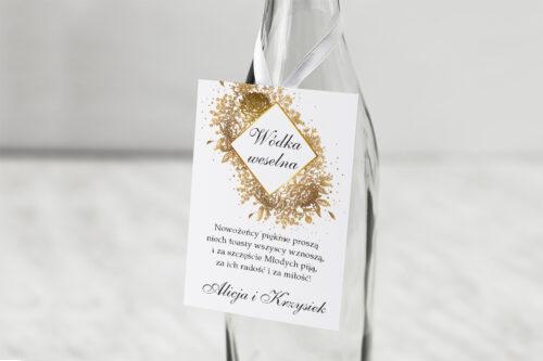 Zawieszka na alkohol do zaproszenia Geometryczne Kwiaty - Złoty bukiet