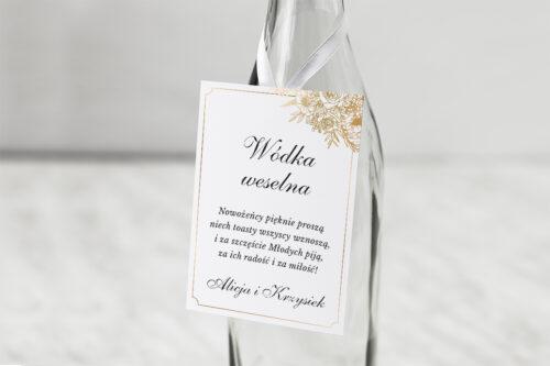 Zawieszka na alkohol do zaproszenia Geometryczne ze zdjęciem - Biała Kompozycja