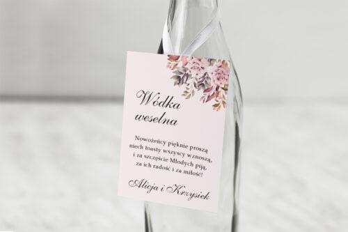 Zawieszka na alkohol - Kwiatowe Gałązki - Różowo-Bordowe Róże