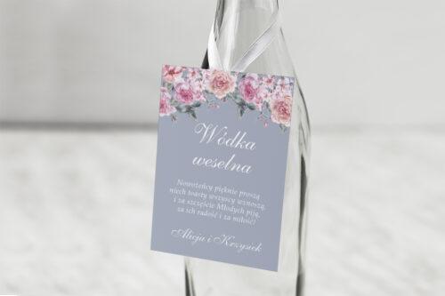 Zawieszka na alkohol do zaproszenia Kwiatowe Nawy - Różowe różyczki