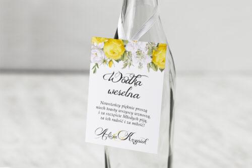 Zawieszka na alkohol Kwiaty&Złoto - Żółte róże