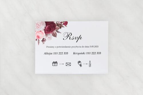 Dodatkowa karteczka do zaproszeń Geometryczne Kwiaty - Amarantowy bukiet