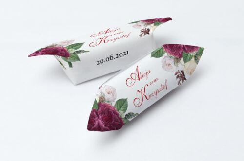Krówki ślubne 1 kg - Angielskie Róże – Burgundowe