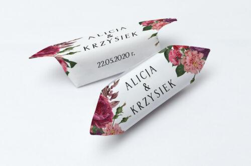 Krówki ślubne 1 kg - BOHO Czerwone&Eco – Bordowe Kwiaty