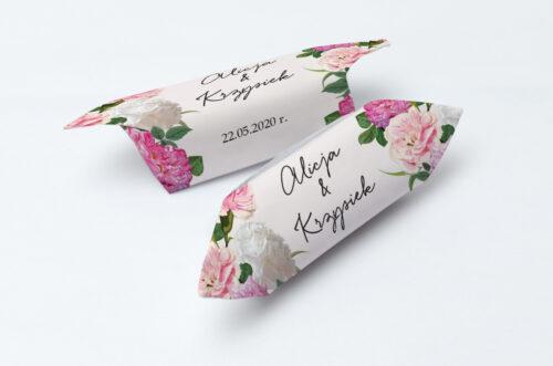 Krówki ślubne 1 kg - Eleganckie kwiaty - Białe i różowe piwonie