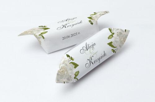 Krówki ślubne 1 kg ze srebrną podkładką - Białe róże