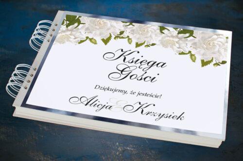 Księga gości ślubnych ze srebrną podkładką - Białe róże