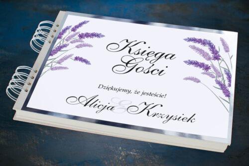 Księga gości ślubnych ze srebrną podkładką - Lawenda