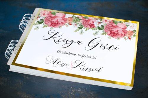 Księga gości ślubnych ze złotą podkładką - Koralowe Róże