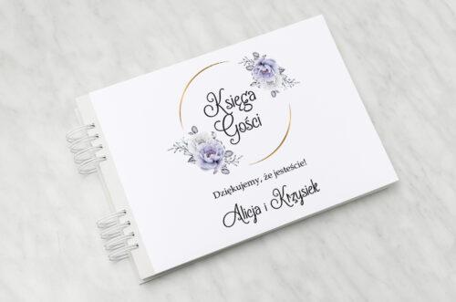 Księga gości do zaproszenia ze zdjęciem i sznurkiem – Siwe kwiaty na kole