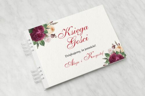 Księga gości do zaproszenia Angielskie Róże – Burgundowe