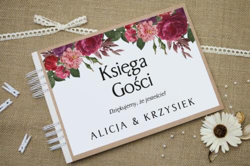 Księga gości ślubnych BOHO Czerwone&Eco – Bordowe Kwiaty