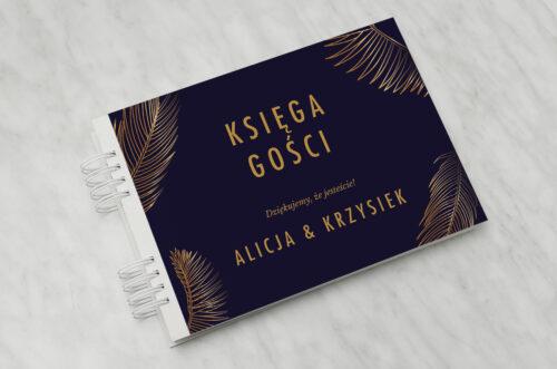 Księga gości ślubnych - Geometryczne Nowoczesne – Tropikalne - Ciemne