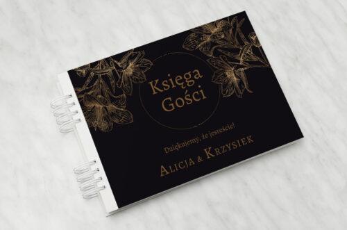 Księga gości ślubnych - Geometryczne Czarno-białe – Delikatne Lilie - Ciemne