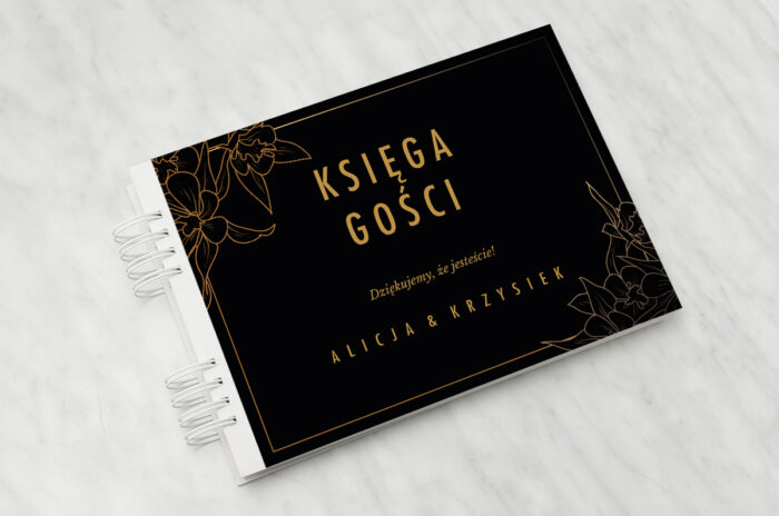 ksiega-gosci-slubnych-geometryczne-czarno-biale-minimalistyczne-kwiatuszki-ciemne-papier-matowy-dodatki-ksiega-gosci