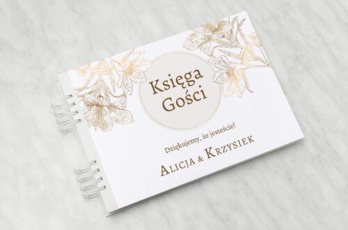 Księga gości ślubnych - Geometryczne Czarno-białe – Delikatne Lilie - Jasne
