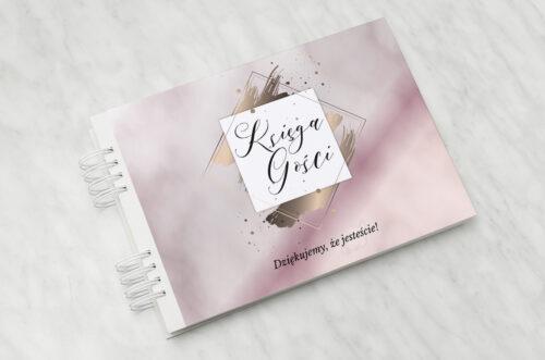 Księga gości ślubnych - Geometryczne Nowoczesne – Róż & Złoto - Jasne