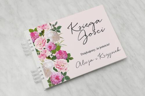 Księga gości ślubnych - Eleganckie kwiaty - Białe i różowe piwonie