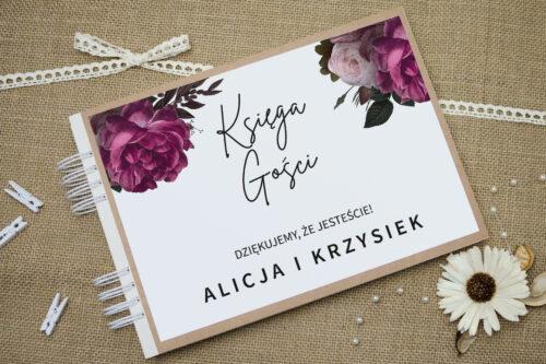 Księga gości ślubnych BOHO ECO - czerwona stulistna róża