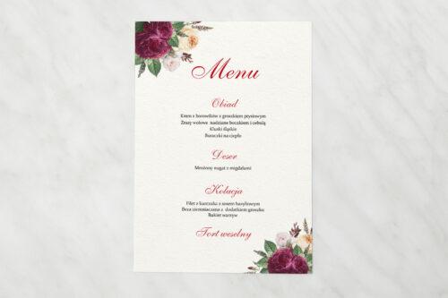 Menu weselne do zaproszenia Angielskie Róże – Burgundowe