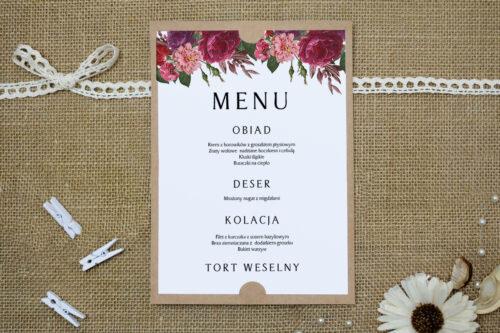 Menu weselne BOHO Czerwone&Eco – Bordowe Kwiaty
