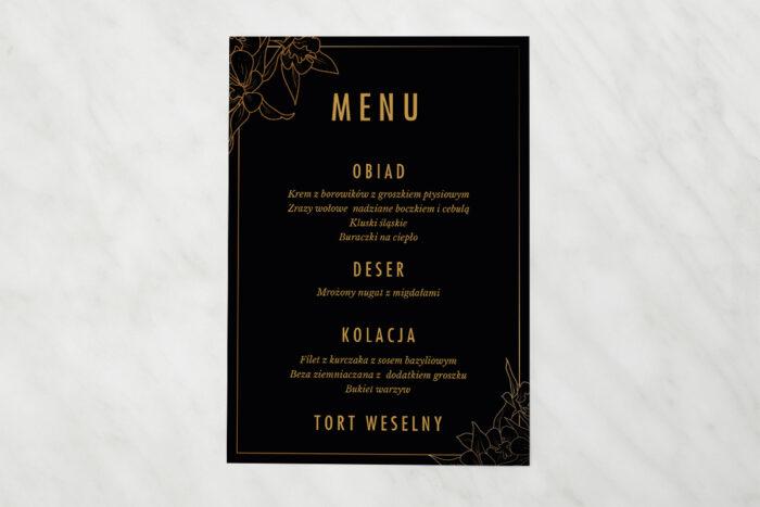 menu-weselne-pasujace-do-zaproszenia-geometryczne-czarno-biale-minimalistyczne-kwiatuszki-ciemne-papier-matowy