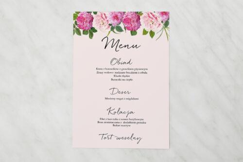Menu weselne pasujące do zaproszenia Eleganckie kwiaty - Białe i różowe piwonie