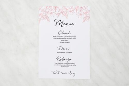 Menu weselne pasujące do zaproszenia z nawami – Delikatne kwiaty – Pudrowe