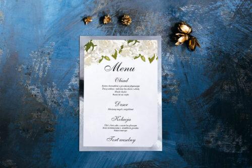 Menu weselne ze srebrną podkładką - Białe róże
