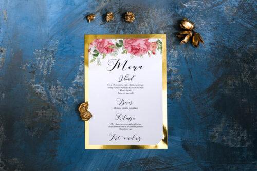 Menu weselne ze złotą podkładką - Koralowe Róże
