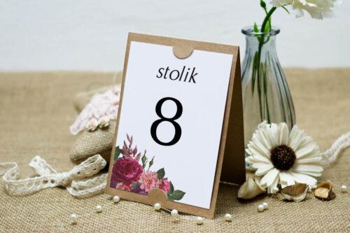 Numer stolika BOHO Czerwone&Eco – Bordowe Kwiaty