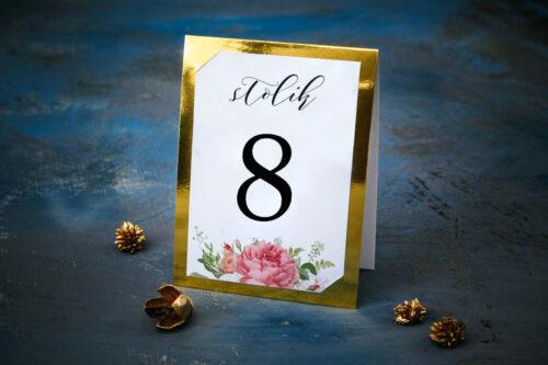 Numer stolika ze złotą podkładką - Koralowe Róże