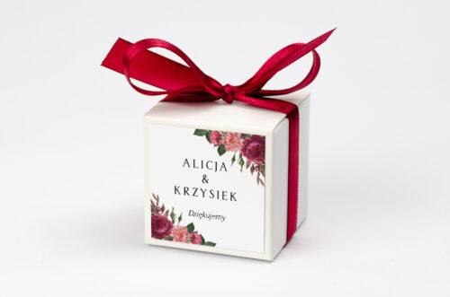 Ozdobne pudełeczko na krówki z personalizacją BOHO Czerwone&Eco – Bordowe Kwiaty
