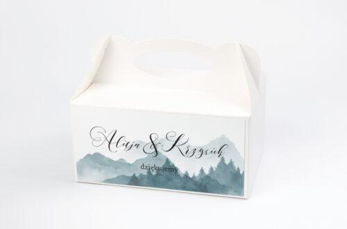 Ozdobne pudełko na ciasto - Akwarelowe góry