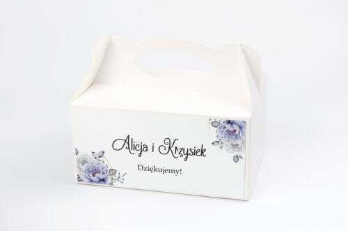 Pudełko na ciasto do zaproszenia ze zdjęciem i sznurkiem - Siwe kwiaty na kole