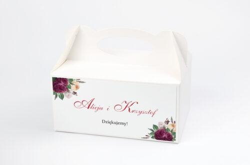 Pudełko na ciasto do zaproszenia Angielskie Róże – Burgundowe