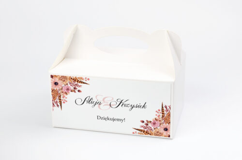 Ozdobne pudełko na ciasto - Jesienne ECO – Suszony bukiet