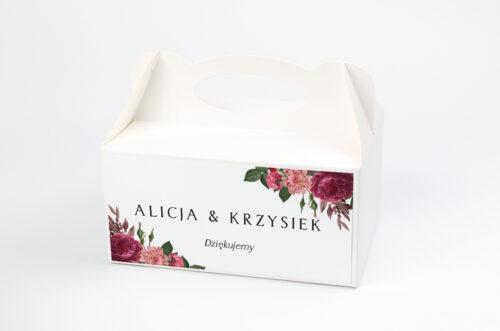 Ozdobne pudełko na ciasto BOHO Czerwone&Eco – Bordowe Kwiaty