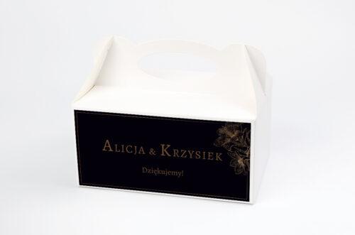 Ozdobne pudełko na ciasto - Geometryczne Czarno-białe – Delikatne Lilie - Ciemne