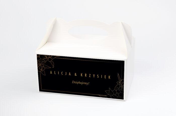ozdobne-pudelko-na-ciasto-geometryczne-czarno-biale-minimalistyczne-kwiatuszki-ciemne-papier-satynowany-pudelko-