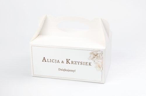 Ozdobne pudełko na ciasto - Geometryczne Czarno-białe – Delikatne Lilie - Jasne
