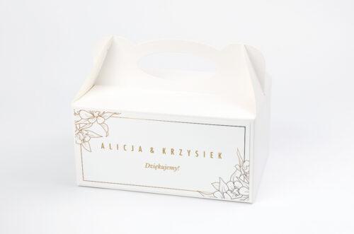 Ozdobne pudełko na ciasto - Geometryczne Czarno-białe – Minimalistyczne Kwiatuszki - Jasne